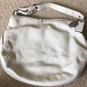 Coach white leather shoulder purse